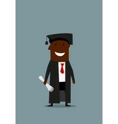 Happy man in graduation gown with diploma vector image