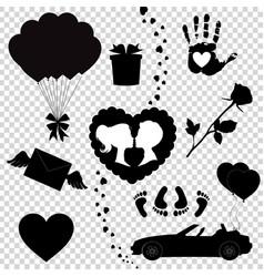 happy valentine day black icons silhouette set vector image