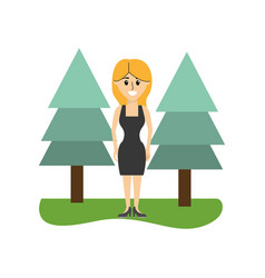 Happy woman with elegant dress and hairstyle vector