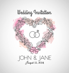 Heart Wedding Invitation vector image