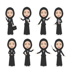 Hijab muslim female character business woman vector