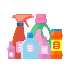 Household chemicals bottles pack cleaning vector
