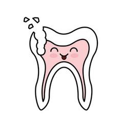 Human tooth with decay kawaii character vector