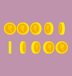 Indian rupee coin rotating animation sprite sheet vector