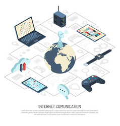 internet of things isometric composition vector image