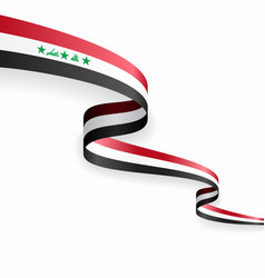 iraqi flag wavy abstract background vector image
