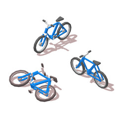 Isometric blue bicycle for infographics site and vector