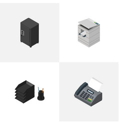 Isometric work set of scanner office phone vector