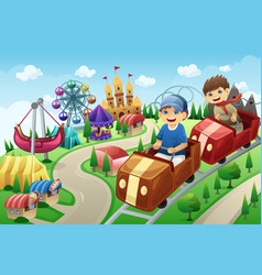 Kids having fun in an amusement park vector