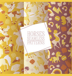 kids horse seamless pattern cartoon pony vector image