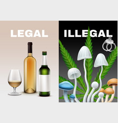 Legal and illegal drugs vector