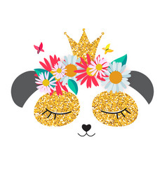 little cute panda princess with crown and flowers vector image