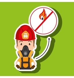 man fire helmet mask vector image