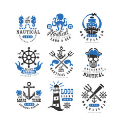 Marine logo set design element for nautical vector