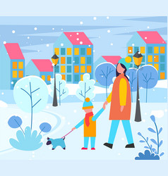 mom and kid walking dog on leash in evening city vector image