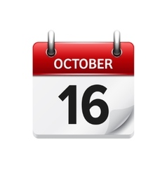 October 16 flat daily calendar icon Date vector
