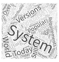 Operating System Requirements Word Cloud Concept vector