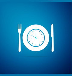 plate with clock fork and knife icon vector image