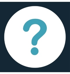 Question flat blue and white colors round button vector