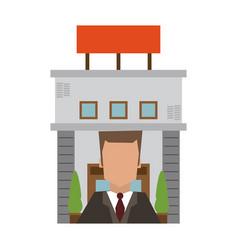 Recepcionist and hotel building vector