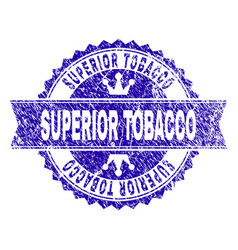 Scratched textured superior tobacco stamp seal vector