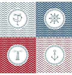 Sea hand drawn icons on wave background vector image