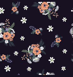seamless floral pattern with cute small ditsy vector image
