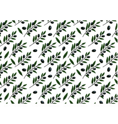 seamless pattern with olive branch hand-drawn vector image