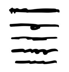 set black ink brush stroke line set line vector image