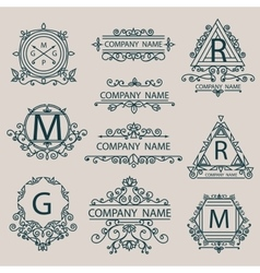 Set emblems monogram company logos business style vector image