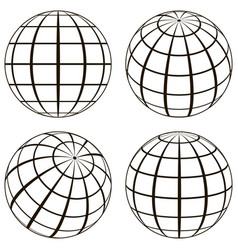set globe technical picture contours of vector image