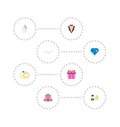 set of ceremony icons flat style symbols with ring vector image