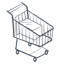 shopping card trolley monochrome sketch icon vector image