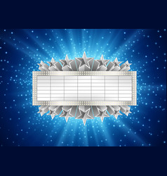 silver metallic banner with supernova vector image