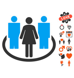 Society icon with love bonus vector