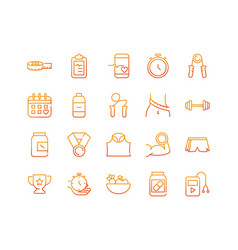 sport gym fitness icons set gradient line vector image