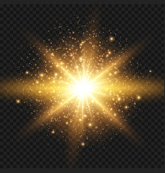 starburst with sparkles and rays golden light vector image