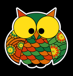 sticker - cute colored owl with big yellow eyes vector image