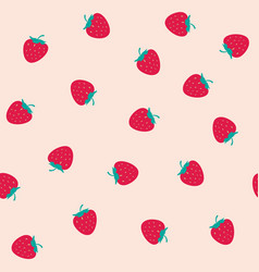 strawberry seamless pattern with blush pink vector image