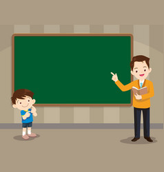 teacher and studen boy standing in front of vector image