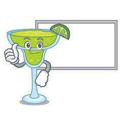 thumbs up with board margarita character cartoon vector image