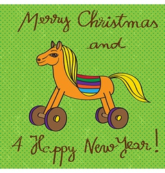 Toy horse greetings card vector