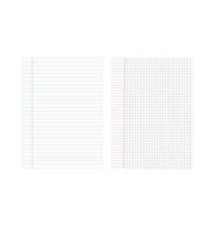 Two notebook sheets in cage and ruler isolated vector