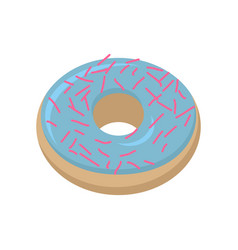 vanilla donut isolated baking sweets on white vector image