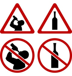 warning signs of alcohol vector image