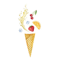 Watercolor composition with waffle cone and vector