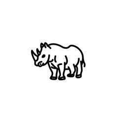 web line icon rhinoceros wild animals black vector image