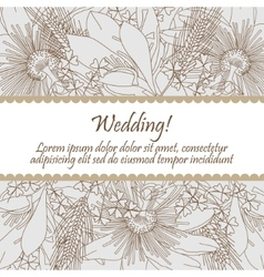 wedding card with seamless pattern lily flowers vector image