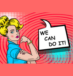 White blonde woman we can do it vector