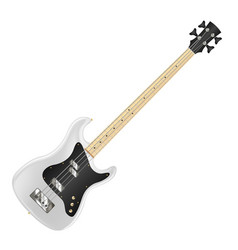 white electric bass guitar on white background vector image